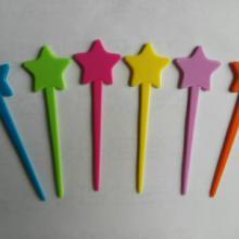 供应彩色五星形塑料水果针一次性塑料果叉糕点叉小吃叉 佛山协锐塑料厂家批发批发