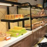 供应高密度板环保烤漆蛋糕面包展示柜食品展示货架大理石吧台收银台