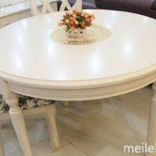 供应白色实木餐桌田园风格圆餐桌