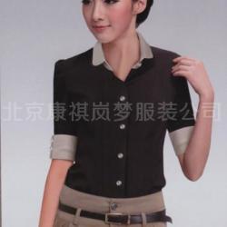 供應廠家直銷夏季爆款女裝批發商務V領短袖工裝襯衫白色修身職業裝