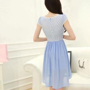 雪纺蕾丝连衣裙图片